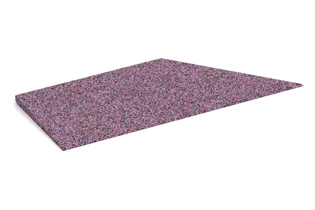 rechte Eck-Keilhälfte von WARCO im Farbdesign Lavendel mit den Abmessungen 750 x 300 x 25/8 mm. Produktfoto von Artikel 1963 in der Aufsicht von schräg vorne.