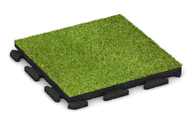Kunstgras-Fitnessplatte von WARCO im Farbdesign Kunstgras grün mit den Abmessungen 500 x 500 x 40 mm. Produktfoto von Artikel 1374 in der Aufsicht von schräg vorne.