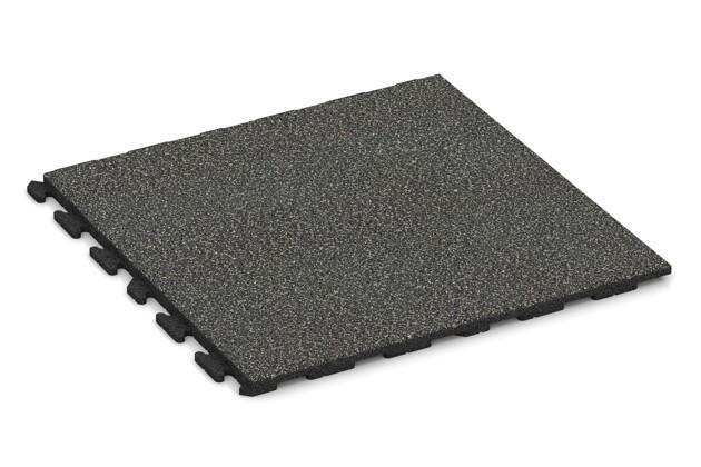 Spiel-Bodenbelag von WARCO im Farbdesign Dunkelgrauer Granit mit den Abmessungen 1000 x 1000 x 40 mm. Produktfoto von Artikel 1650 in der Aufsicht von schräg vorne.