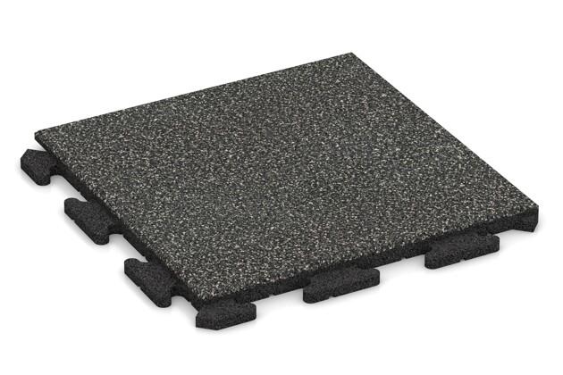 Fallschutz-Puzzlematte von WARCO im Farbdesign Dunkelgrauer Granit mit den Abmessungen 500 x 500 x 30 mm. Produktfoto von Artikel 1192 in der Aufsicht von schräg vorne.