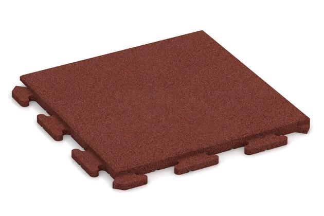 Fallschutz-Puzzlematte von WARCO im Farbdesign ziegelrot mit den Abmessungen 500 x 500 x 30 mm. Produktfoto von Artikel 1266 in der Aufsicht von schräg vorne.