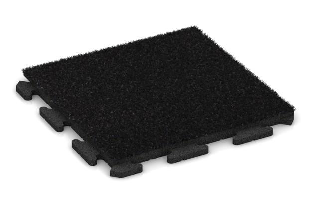 Kunstgras-Fitnessplatte von WARCO im Farbdesign Kunstgras schwarz mit den Abmessungen 500 x 500 x 30 mm. Produktfoto von Artikel 1242 in der Aufsicht von schräg vorne.