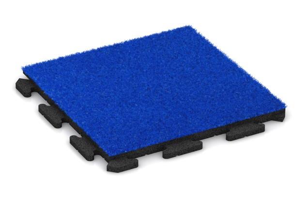 Kunstgras-Fitnessplatte von WARCO im Farbdesign Kunstgras blau mit den Abmessungen 500 x 500 x 30 mm. Produktfoto von Artikel 1245 in der Aufsicht von schräg vorne.