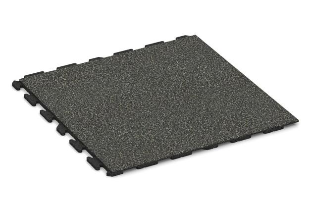 Spiel-Bodenbelag von WARCO im Farbdesign Dunkelgrauer Granit mit den Abmessungen 1000 x 1000 x 30 mm. Produktfoto von Artikel 1570 in der Aufsicht von schräg vorne.