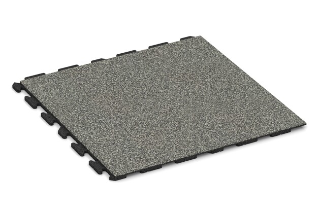 Spiel-Bodenbelag von WARCO im Farbdesign Grauer Granit mit den Abmessungen 1000 x 1000 x 30 mm. Produktfoto von Artikel 1571 in der Aufsicht von schräg vorne.