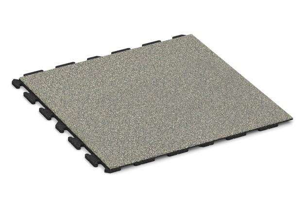 Spiel-Bodenbelag von WARCO im Farbdesign Heller Granit mit den Abmessungen 1000 x 1000 x 30 mm. Produktfoto von Artikel 1572 in der Aufsicht von schräg vorne.