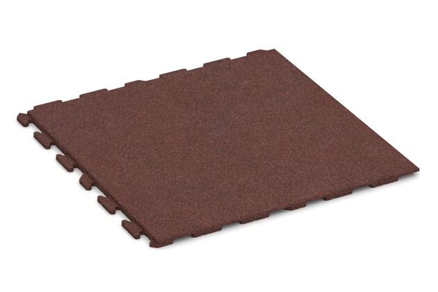 Spiel-Bodenbelag von WARCO im Farbdesign schokobraun mit den Abmessungen 1000 x 1000 x 30 mm. Produktfoto von Artikel 1622 in der Aufsicht von schräg vorne.