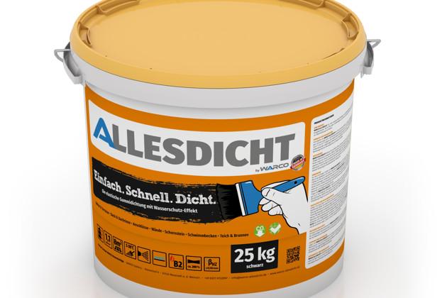 ALLESDICHT von WARCO im Farbdesign schwarz mit den Abmessungen 25 kg. Produktfoto von Artikel 0017 in der Aufsicht von schräg vorne.