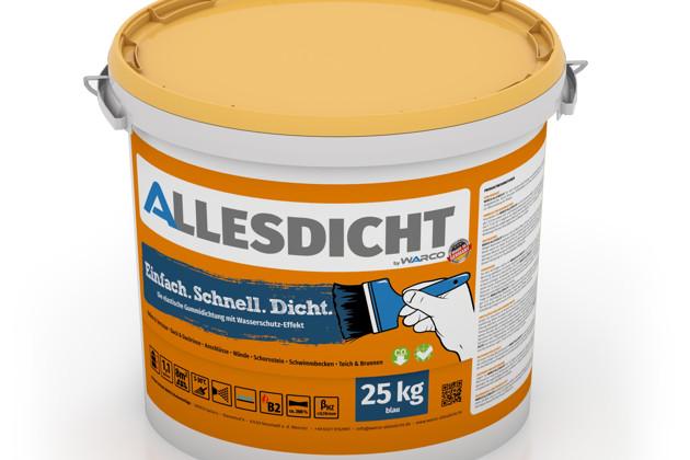 ALLESDICHT von WARCO im Farbdesign blau mit den Abmessungen 25 kg. Produktfoto von Artikel 0020 in der Aufsicht von schräg vorne.