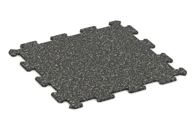 Fitnessmatte von WARCO im Farbdesign Dunkelgrauer Granit mit den Abmessungen 485 x 485 x 8 mm. Produktfoto von Artikel 0882 in der Aufsicht von schräg vorne.
